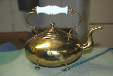 Antique Brass Tea Kettle White Milk Glass Handle Gooseneck Spout Kitchenware