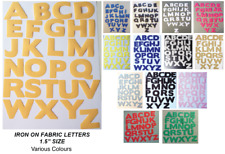 "IRON  ON die cut Fabric LETTERS! Approx size 1.5""! in Various Colours!"