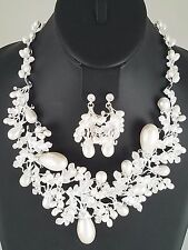 Silver Pearl and Crystal Statement FASHION Necklace Set