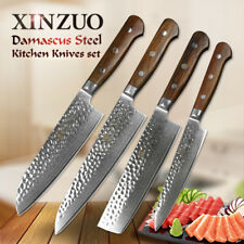 XINZUO High quality 4pcs Damascus Steel Kitchen Knife Sets cooking knifeTools