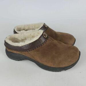 Merrell Womens Encore Chill Stitch Clog Shoes Brown Slip On Round Toe Fur Trim 8