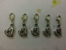 5 Tibetan Silver Heart Clip On Charms