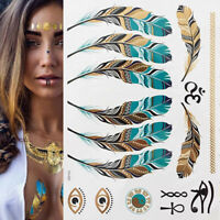 Lady Elegant Metallic Gold Silver Boho Arm Body Temporary Tattoo Sticker Art