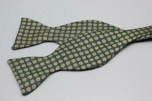 BROOKS BROTHERS Silk Bow Tie. Green w Brown & Yellow Floral.