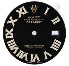 To Fit Rolex Mens Datejust 36mm Two-tone Black Diamond Roman Numeral 1/2CTW