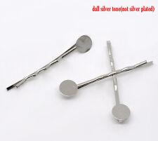 Sexy Sparkles 25 Pcs Silver Tone Bobby Pins Hair Clips w/ 8mm Glue Pad 4.4x1.5cm