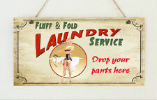 Hand Made Distressed Plaque Sign Retro Vintage ' Laundry Service ' Present Gift