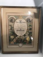 Antique 1886 German Christian Marriage Wedding Certificate Framed
