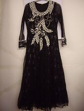 "Black and Silver Net Anarkali Long Dress Churidar Suit & Scarf Size 38"" Chest"