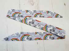 Grey Unicorn & Rainbow Baby Head Scarf - Cotton Bib Baby Shower Bandana Gift