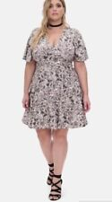 TORRID Womens (4-4X  26-28) Multi-Color Floral Print Flutter Sleeve Dress Sweet