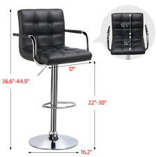 Bar Stools Set of 2 Black Adjustable Counter Stools Bar Chairs Synthetic Leather