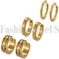 6pcs Fashion Men Women Stainless Steel Charm Hoop Huggie  Earstud Set Earrings
