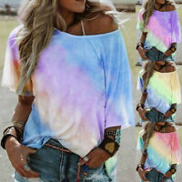 Womens Summer Casual Blouse Tops Ladies Holiday Gradient Tie-Dye Loose T Shirt