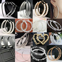 Stylish Big Round Women Hoop Earrings Charm Silver/Gold Wedding Jewelry New Gift