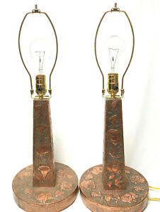 Antique OOAK Hand Stamped Copper Table Lamps Poppy And Rose Pattern