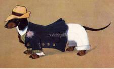 Vintage DACHSHUND DOG Daschund Weiner boy all dressed up Quilting Fabric Block