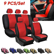 9Pcs PU Leather Car Auto Seat Cover Front Rear Head Rests Full Set Protector