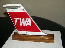 TWA AIRLINE DC-9 DESK MODEL WOOD AIRPLANE TAIL TRANS WORLD AIRLINE PILOT GIFT!