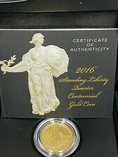 2016-W Standing Liberty Quarter 25c Centennial 1/4 Oz Gold Coin in Box w/ COA