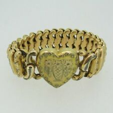 Vintage Gold Tone Etched Sweetheart Expandable Heart Bracelet