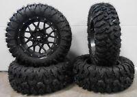"ITP Hurricane 15"" Wheels Black 28"" MotoClaw Tires Yamaha YXZ1000R"