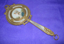 Nice 19th Century French Bronze & Mother of Pearl Hand Mirror ~ Hand Painted