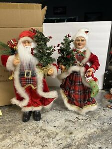 """Santa Mrs Clause 18"""" Christmas Holly Berry Stocking Peppermint Candy Cane Figure"""