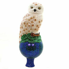 Old World Christmas White Snowy Owl Glass Tree Topper 50024
