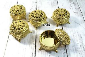 12 Gold Trinket Baby Shower Favors Prizes Wedding Jewelry Keepsake Container
