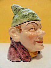 MAJOLICA TOBACCO JAR HUMIDOR - MAN IN STOCKING CAP - Excellent Antique