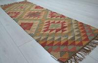 Kilim Hall Runner Indian Jute Wool Hand Knotted 180x60cm 6x2ft Geometric KRN02