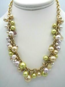 """STUNNING VINTAGE VIDA SIMULATED CHAMPAGNE & GREEN PEARL GOLD TONE NECKLACE 18"""""""