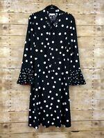 Susan Graver Women's Long Sleeve Polka Dot Liquid Knit Dress (Black, S) A346398