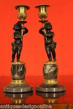 Pair antique French ormolu putto candlesticks marble ormolu candelabra Napoleon