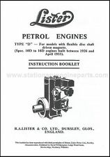Lister D Stationary Engine Instruction Manual Book 1926-1935 Early Lister D Book