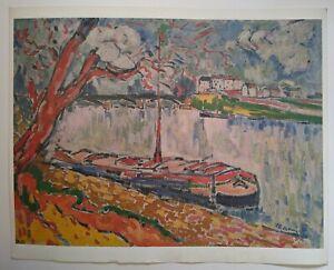 VINTAGE MAURICE DE VLAMINCK - BARGE SIENE - FINE ART PRINT RARE 1968 SWITZERLAND