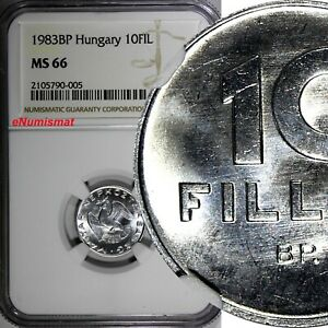 Hungary Aluminum 1983 BP 10 Fillér NGC MS66 TOP GRADED BY NGC KM# 572 (005)