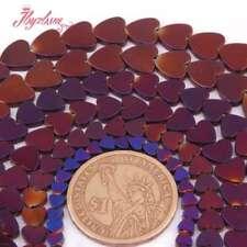 "4,6,8,10mm Natural Heart Shape Purple Hematite Gemstone Beads Spacer Strand 15"""