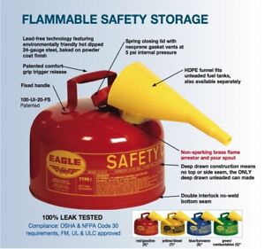 2.5 Gallon Safety Gas Can Eagle UI-25-FS Type I Red Galvanized Can