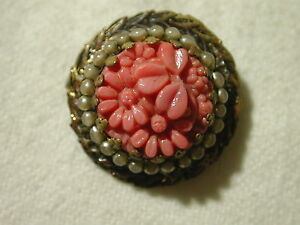 Antique button brooch faux coral seed pearl