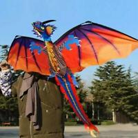 3D Dragon Kite Single Line With Tail Family Outdoor Sports Toy Kids Best Gifts