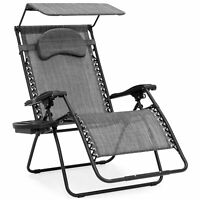 BCP Oversized Zero Gravity Reclining Patio Chairs w/ Canopy Shade & Cup Holder