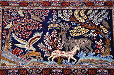 c1930s ANTIQUE ANIMAL SUBJECTS SILK ACCENTS_KORK WOOL PERSIAN KASHAN RUG 2x3.4