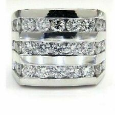 1Ct Round Cut D/VVS1 Diamond Men's Engagement Pinky Band Ring 14K White Gold Fn