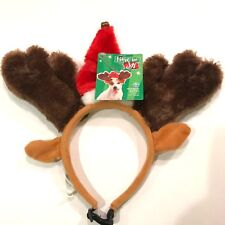 Christmas Pet Holiday Antlers Dog L/XL Brown Red Deer Santa Hat