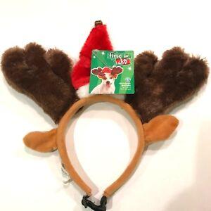Christmas Pet Holiday Antlers Dog L/XL Brown Red Deer Santa Hat