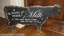 BiG Black Dairy Milk COW SIGN*Primitive/French Country/Farmhouse Kitchen Decor
