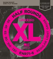 D'Addario ENR71-6 HALF ROUNDS BASS STRINGS, REGULAR/LIGHT GAUGE 6's -   30-130