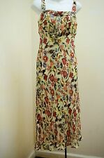 Lapis S Dress Red Green Floral Silk Chiffon Sleeveless Pleated Romantic